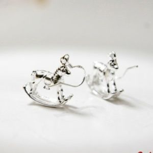 Rocking Horse Earrings, Sterling Silver Plated 🌸